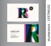 business card template  letter r | Shutterstock .eps vector #155798102