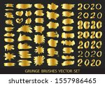 set of gold paint  ink brush... | Shutterstock .eps vector #1557986465