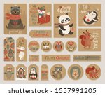 christmas kraft paper cards and ... | Shutterstock .eps vector #1557991205
