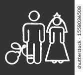 forced marriage chalk icons set.... | Shutterstock .eps vector #1558036508