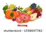 autumn fruits and berries. pear ... | Shutterstock .eps vector #1558047782