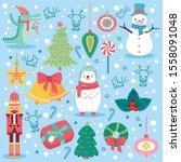 cute animals celebrate... | Shutterstock .eps vector #1558091048