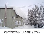 Small photo of Japanese countryside house with heave snowdrift hanging on roof edge, parking with cars and pine trees covered with deep snow