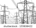 electricity pylons on white | Shutterstock . vector #155838422