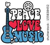 PEACE LOVE MUSIC text design with peace symbol, guitar,dove, heart and musical notes in red, white and blue.