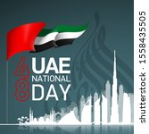 48 uae national day banner with ... | Shutterstock .eps vector #1558435505