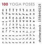 big yoga poses asanas icons set.... | Shutterstock .eps vector #1558440125