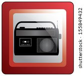 vintage style radio icon on red ... | Shutterstock .eps vector #155849432