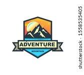 mountain adventure and moon... | Shutterstock . vector #1558535405