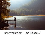 meditation and yoga practicing... | Shutterstock . vector #155855582