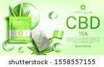 cbd tea bag package mock up...   Shutterstock .eps vector #1558557155