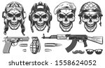 set of skulls in military... | Shutterstock . vector #1558624052