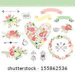 Stock vector wedding graphic set wreath flowers arrows hearts laurel ribbons and labels 155862536