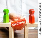 Small photo of A man makes contact between people opponents. Arbitrator and mediator. Build bridges, seek a compromise in disputes and reconciliation of conflicts. Networking in business. Negotiation platform