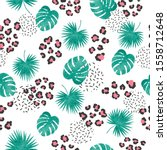 seamless tropical pattern with... | Shutterstock .eps vector #1558712648