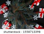 handmade christmas gift boxes...   Shutterstock . vector #1558713398