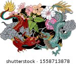 hand drawn dragon tattoo ... | Shutterstock .eps vector #1558713878