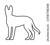 Stock vector vector silhouette of a side dog on a white background isolated dog illustration 1558748348