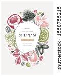 colorful nut wreath design.... | Shutterstock .eps vector #1558755215