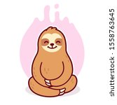 Cute Cartoon Sloth Meditating...