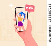 hand holding phone beautiful... | Shutterstock .eps vector #1558807268