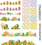 seamless pattern houses with... | Shutterstock .eps vector #155880962