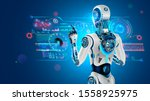 robot with ai stands with back... | Shutterstock .eps vector #1558925975