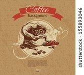 hand drawn vintage coffee... | Shutterstock .eps vector #155893046