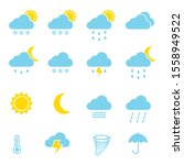 set of weather icons set. flat... | Shutterstock .eps vector #1558949522