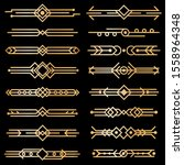 art deco dividers. gold deco... | Shutterstock . vector #1558964348