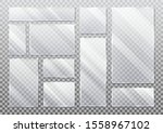 set of realistic glass plate on ...   Shutterstock .eps vector #1558967102