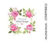 the rose elegant card. doodle.... | Shutterstock .eps vector #1558998812