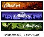 cartoon halloween banners set.... | Shutterstock .eps vector #155907605