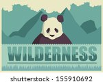 Retro poster with panda. Vector illustration. - stock vector