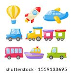 cartoon transport toys icon set.... | Shutterstock .eps vector #1559133695