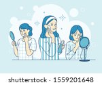 two women are worried about...   Shutterstock .eps vector #1559201648