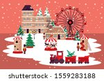 christmas winter street scene... | Shutterstock .eps vector #1559283188