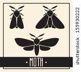 simple isolated black moth or... | Shutterstock .eps vector #155930222