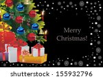 decorated christmas tree on...   Shutterstock .eps vector #155932796