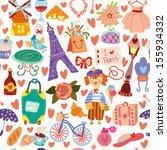 cartoon seamless pattern with... | Shutterstock .eps vector #155934332
