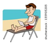 man on the beach typing on his... | Shutterstock .eps vector #155935205