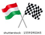 flags of hungary and checkered... | Shutterstock . vector #1559390345
