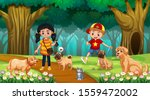 children with dogs in wood... | Shutterstock .eps vector #1559472002