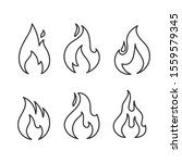 Fire Icons Vector Set Isolated...