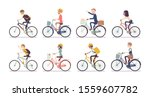 cyclists and bicycles set. male ... | Shutterstock .eps vector #1559607782