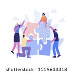 people putting puzzle pieces... | Shutterstock .eps vector #1559633318