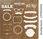 set of vintage badges with wood ... | Shutterstock .eps vector #155963432