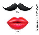moustaches with lips | Shutterstock . vector #155963462