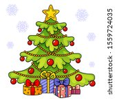 christmas tree with gifts.... | Shutterstock .eps vector #1559724035