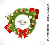 christmas wreath with ball ... | Shutterstock .eps vector #1559782205